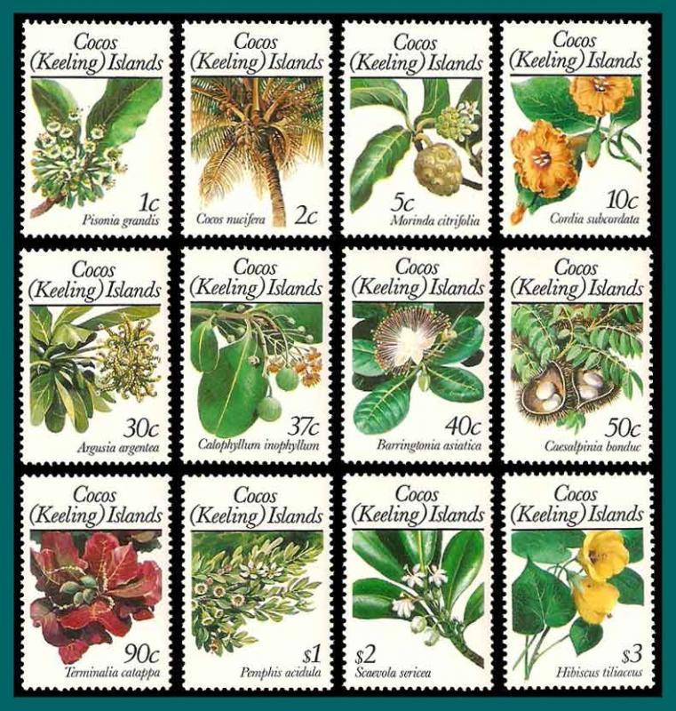 Cocos 1988 Flowers, MNH 183-198,SG191-SG202