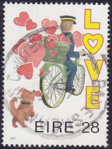 Ireland - 1987 - Scott #680 - used - Love Postman Bicycle Dog
