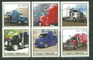 St.Thomas & Prince Islands MNH 1514A-F Tractor Trailer Trucks SCV  9.00
