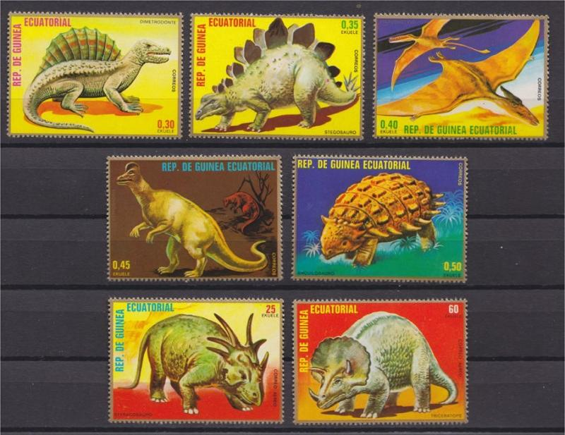 Equatorial Guinea, DINOSAURS, perforated set from 1978 MNH