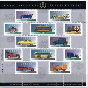 Canada Mint VF-NH #1605 Historical Vehicles sheet/25
