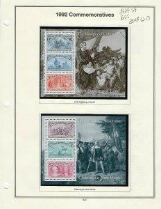 1992 2624-2629 VOYAGES OF COLUMBUS SET OF SOUVENIR SHEETS - SCV $62.50 - W43