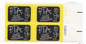 United States, 1463, Parent Reacher Assn.-75th Plate Block of 4, #33657, LR, MNH