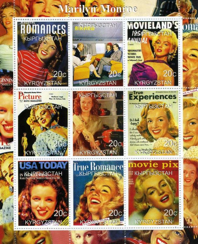 Marilyn Monroe, Sheetlet (9) mnh.vf perforated