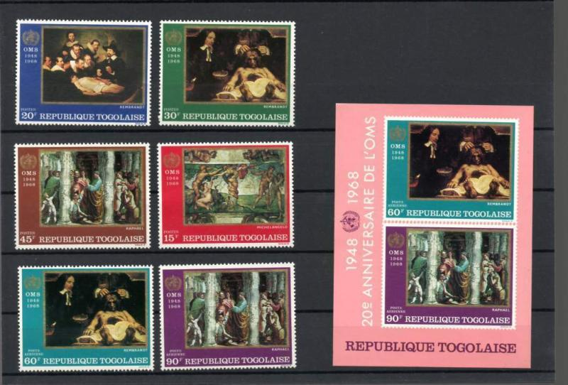 Togo 646-49, C93-94, C94a Mint NH Paintings SCV $8.20