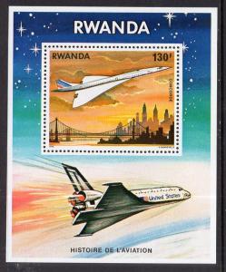 Rwanda 893 Airplane Souvenir Sheet MNH VF