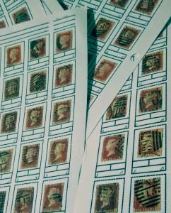 Great Britain Penny Red  used plate 192 collection (20 stamps)