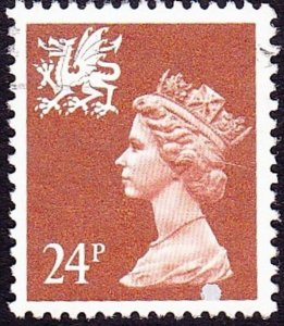 GREAT BRITAIN Wales 1991 QEII 24p Chestnut Machin Type II with Printing Flaw ...