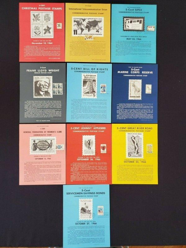 1964,65,66 Vintage USPS Bulletin Board Poster Folded w/ FDI Cancel Lot of 10 (3)
