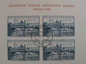 CZECHOSLOVAKIA: SC#434a SCENIC OF CZECHOSLOVAKIA OF 1950: IMPERF: SOUVENIR SHEET