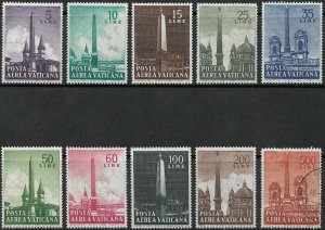 Vatican City Air Post Stamp Set-Scott #C35-C44/AP13 Rome Olbelisks M-C/LH 1959