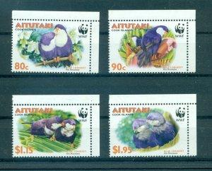 Aitutaki - Sc# 533-6. 2002 Birds. WWF. MNH $5.75.