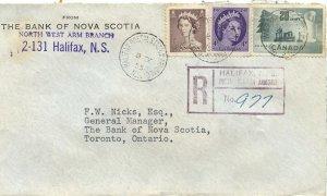 Armdale Stn. Halifax barrel Registration handstamp etc.  Canada cover