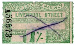 (I.B) Great Eastern Railway : Paid Parcel 1/- (Liverpool Street)