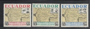 Ecuador #722-4 comp mint cv $.90 Map