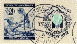 BÖHMEN u. MAHREN - 1941 DATSCHITZ-IGLAU TPO n°547a bilingual CDS on Mi.62