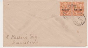 1918 St Kitts & Nevis Scott # MR2 Domestic Used Pair of War Tax Stamps on Cover