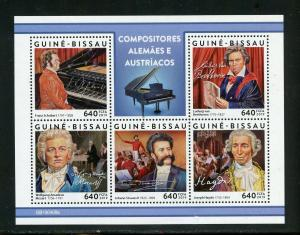 GUINEA BISSAU 2019 GERMAN & AUSTRIAN COMPOSERS BEETHOVEN MOZART  SHEET  MINT NH