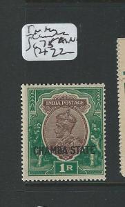 INDIA CHAMBA  (P1608B) KGV 1R  SG75  MNH