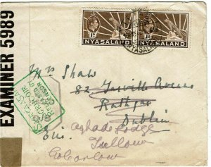Nyasaland 1942 Limbe cancel on cover to Ireland, re-directed, censored twice