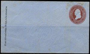 US U280 Entire 1884 2c Brown on Blue Small Sized Unused (10)