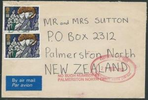 NEW ZEALAND 1992 cover ex GB NO SUCH NUMBER AT PALMERSTON NORTH...........37868