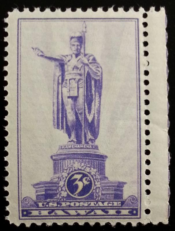 1937 3c Hawaii Territory, Statue of Kamehameha Scott 799 Mint F/VF NH