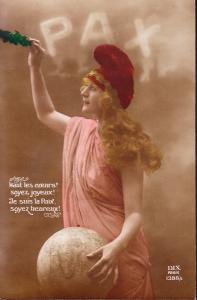 France-PAX-1919-color-card-with-message-Allegorical Lady Peace