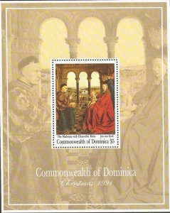 Dominica - 1991 Jan van Eyck Paintings - Stamp Souvenir Sheet - Scott #1412