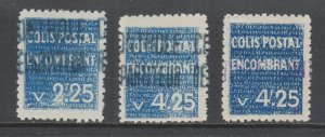 Algeria Y&T 39, 41, 41a MLH. 1935-1938 Parcel Post, 3 diff from set