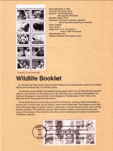 US SP532 Wildlife Booklet Pane 1889a Souvenir Page FDC