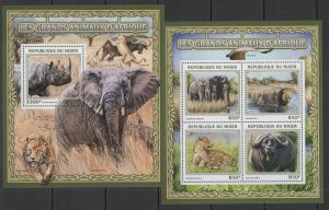 ST1895 2016 NIGER MAMMALS FAUNA GRANDS GREAT ANIMALS OF AFRICA KB+BL MNH