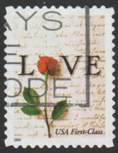 SC# 3496 - (34c) - Rose & Love letter, non-denom - Used Single Off Paper