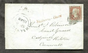 p742 - GB 1848 Holborn-Bars on Penny Red Cover / Letter to Coast Guard Officer