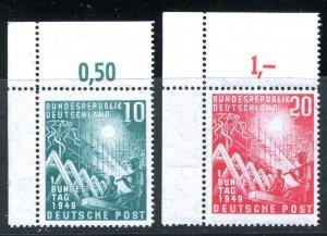 Germany Scott 665 - 666 Mint Never Hinged Number Tab Set 1949