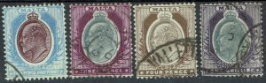 MALTA 1903 KEVII 21/2D TO 1/- WMK CROWN CA USED
