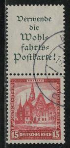 Germany Scott # B39, label A1.2, used, se-tenant, Mi# S96