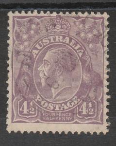 AUSTRALIA 1926 KGV 41/2D SMALL MULTI WMK PERF 13.5 X 12.5 USED