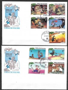 Turks & Caicos Islands 496-505 Disney 1981 Christmas set and s.s. FDC (lib)