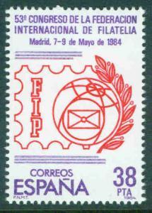 SPAIN Scott 2368 FIP congress stamp 1984
