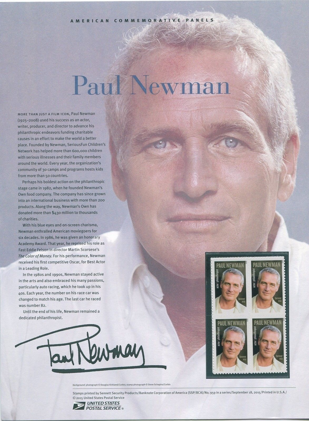 5020 Forever Paul Newman USPS 959 Commemorative Stamp Panel HipStamp