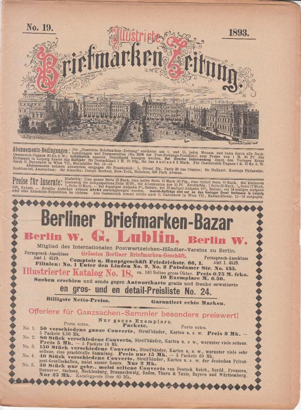 Illustrate Briefmarken Zeitung 1893 #19