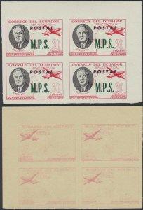 ECUADOR 1949 ROOSEVELT OFFICIAL Bts O227 CRN MGNL IMPERF BLOCKx4 OFFSET IMPRESSN