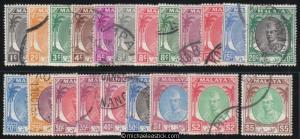 1951/55 Malaya Kelantan Sultan Definitives, set of 21, SG 61-81, used