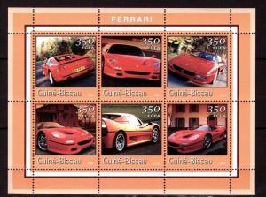 Guinea-Bissau MNH S/S Ferrari Cars 2001 6 Stamps