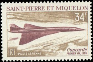 St. Pierre & Miquelon #C40, Complete Set, 1969, Aviation - Airplanes, Never H...