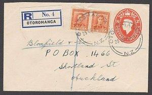 NEW ZEALAND 1950 GVI 2d envelope uprated - Registered ex OTOROHANGA.........B575