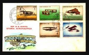 San Marino 1962 Aviation FDC / Hand Colored / UA - L3707