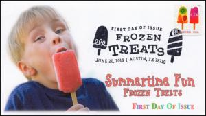 18-159, 2018, Frozen Treats, First Day Cover, Pictorial Postmark, Ice Cream, Kid