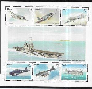 Nevis #919 $2  Planes  S/S (MNH) CV$11.00